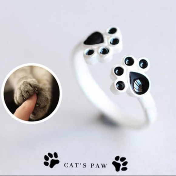 Jewelry Silver Puppy Dog Cat Paw Print Adjustable Ring Poshmark